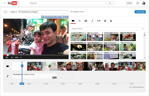 Основны интерфейса редактора видео на YouTube.