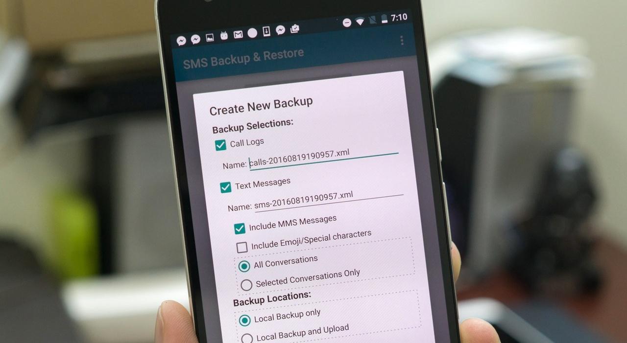 Сообщения, журнал вызовов: Резервное копирование ивосстановление SMS