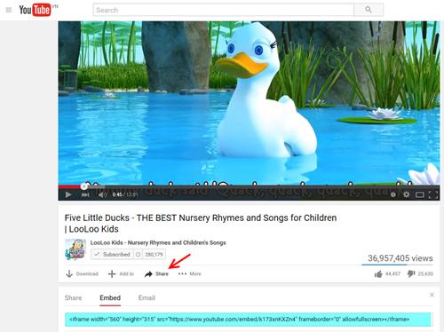Поделись HTML кодом YouTube.