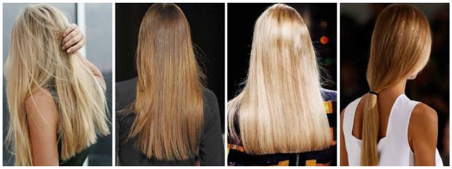 Длинные волосы с ровным срезом
