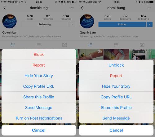 Заблокировать и разблокировать учетную запись в Instagram